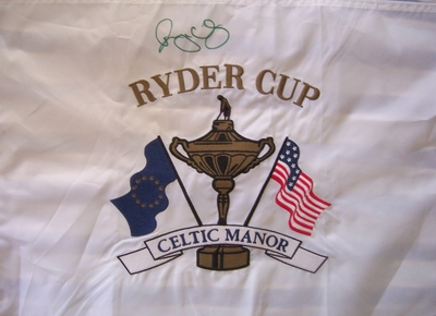 Rory McIlroy autographed 2010 Ryder Cup embroidered golf pin flag