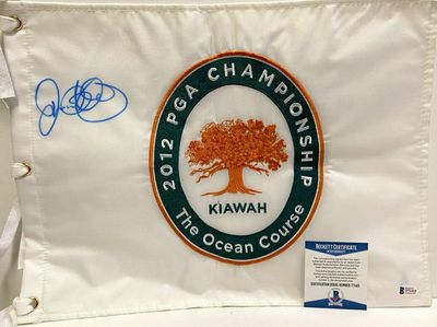 Rory McIlroy autographed signed 2012 PGA Championship embroidered golf pin flag (BAS authenticated)