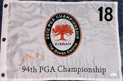 Rory McIlroy autographed 2012 PGA Championship embroidered golf pin flag (JSA)