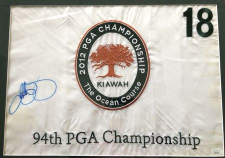 Rory McIlroy autographed 2012 PGA Championship embroidered golf flag matted and framed JSA