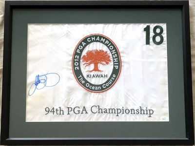 Rory McIlroy autographed 2012 PGA Championship embroidered golf flag framed (JSA)