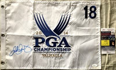 Rory McIlroy autographed 2014 PGA Championship Valhalla embroidered golf pin flag (JSA)