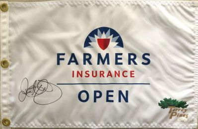 Rory McIlroy autographed 2020 Farmers Insurance Open golf pin flag (JSA)