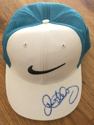 Rory McIlroy autographed white and aqua Nike golf cap or hat