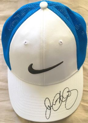 Rory McIlroy autographed white and blue Nike golf cap or hat