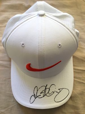Rory McIlroy autographed white and orange Nike golf cap or hat