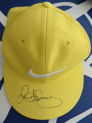 Rory McIlroy autographed yellow Nike 20XI golf cap or hat