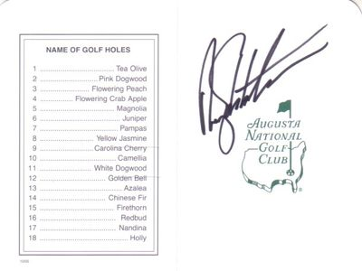 Rory Sabbatini autographed Augusta National Masters scorecard