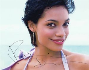 Rosario Dawson autographed 8x10 pretty face photo