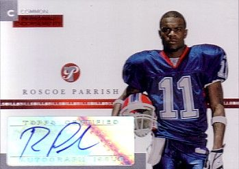 Roscoe Parrish certified autograph Buffalo Bills 2005 Topps card #/1500