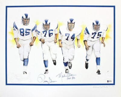 Rosey Grier and Merlin Olsen autographed Los Angeles Rams Fearsome Foursome 16x20 lithograph (BAS authenticated)