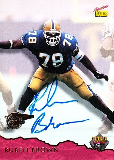 Ruben Brown autographed Pittsburgh Panthers 1995 Signature Rookies card