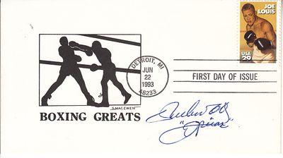 Ruben Olivares autographed Boxing Greats cachet 1993 Joe Louis stamp First Day Cover