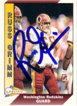 Russ Grimm autographed Washington Redskins 1991 Pacific card