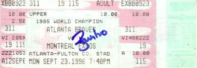Ryan Klesko autographed Atlanta Braves 1996 Fulton County Stadium last regular season game full ticket