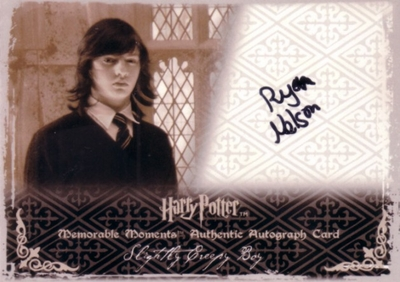 Ryan Nelson certified autograph Harry Potter Memorable Moments Slightly Creepy Boy card