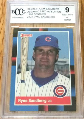 Ryne Sandberg Chicago Cubs 1988 Donruss card graded BCCG 9