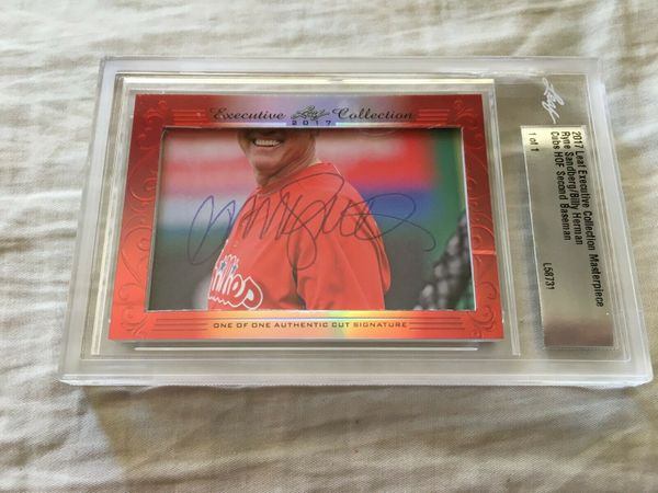 Ryne Sandberg and Billy Herman 2017 Leaf Masterpiece Cut Signature certified autograph card 1/1 JSA