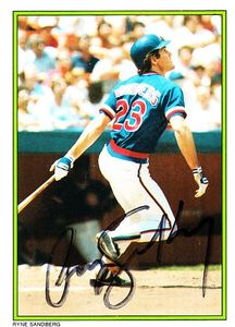 Ryne Sandberg autographed Chicago Cubs 1985 Topps Glossy All-Stars card