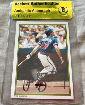 Ryne Sandberg autographed Chicago Cubs 1986 Topps Glossy All-Stars card (BAS authenticated)