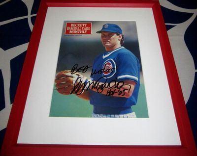 Ryne Sandberg autographed Chicago Cubs 1990 Beckett Baseball cover inscribed Best wishes HOF '05 framed