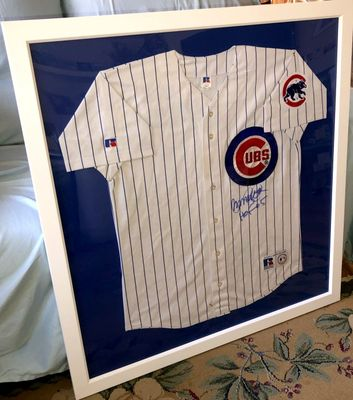 Ryne Sandberg autographed Chicago Cubs white authentic Russell jersey inscribed HOF 05 custom framed (JSA)