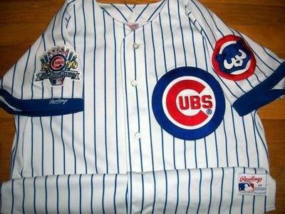 Ryne Sandberg Chicago Cubs 1990 original Rawlings home white game model jersey with All-Star Game patch