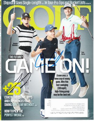 Sam Burns Cameron Champ Joaquin Niemann autographed 2019 Golf Magazine cover