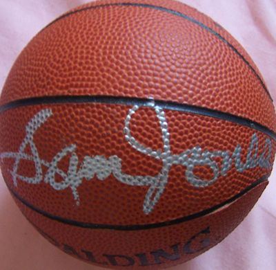 Sam Jones autographed NBA mini leather basketball