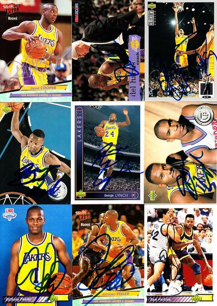 9 Los Angeles Lakers autographed 1990s cards (Del Harris Anthony Peeler Sam Perkins)