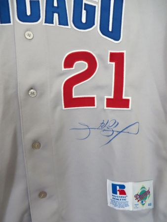 Sammy Sosa autographed Chicago Cubs authentic Russell game model road jersey (TSC)