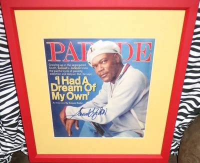 Samuel L. Jackson autographed 2005 Parade magazine cover matted and framed