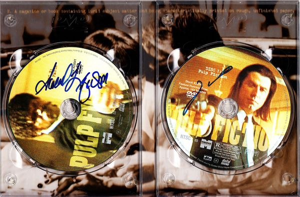 Samuel L. Jackson & John Travolta autographed Pulp Fiction Collector's Edition DVD set