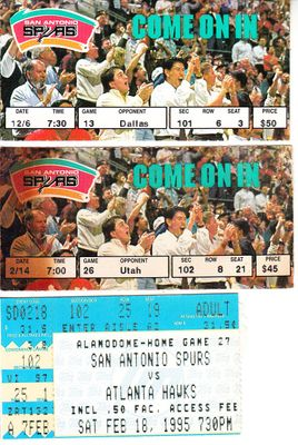 1994-95 San Antonio Spurs lot of 3 ticket stubs (David Robinson)