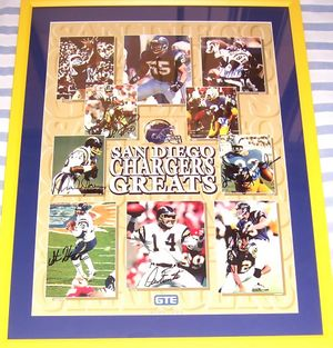 San Diego Chargers Greats autographed poster framed (Lance Alworth Dan Fouts John Hadl Junior Seau Kellen Winslow)