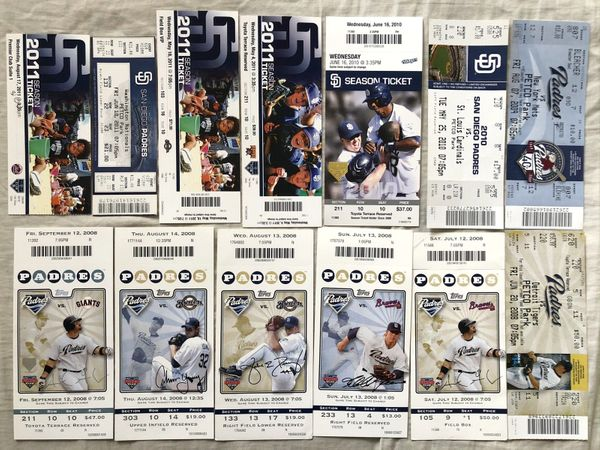 San Diego Padres 2008 2009 2010 2011 lot of 13 home game tickets