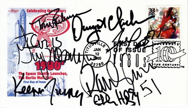 49ers Team of the 1980s cachet autographed by Dwight Clark Randy Cross Fred Dean Charles Haley Guy McIntyre Tom Rathman Keena Turner
