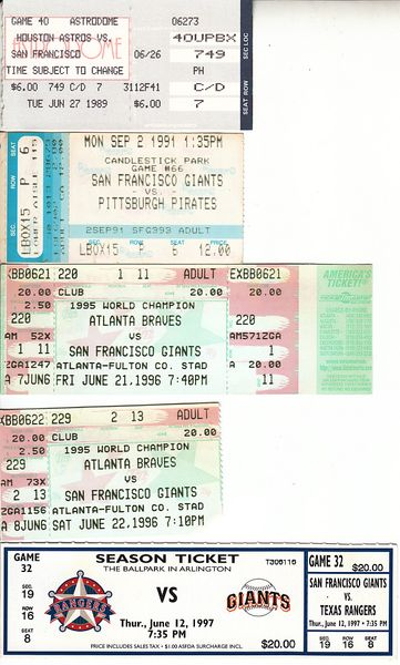 San Francisco Giants lot of 6 vintage game tickets