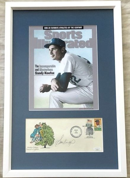 Sandy Koufax autographed Brooklyn Dodgers cachet framed with 1999 Sports Illustrated cover (JSA)
