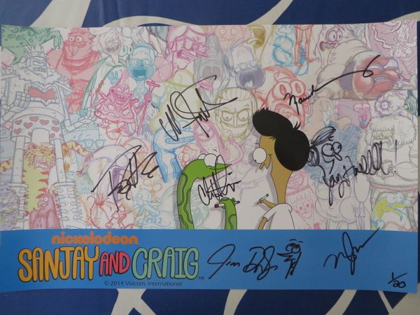 Sanjay and Craig cast autographed 2014 Comic-Con poster Jim Dirschberger Tony Hale Chris Hardwick Jay Howell Maulik Pancholy