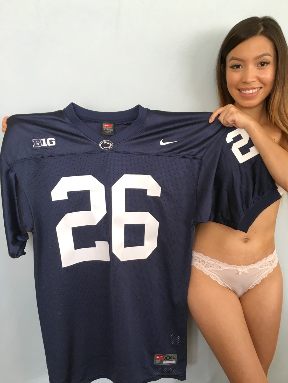 more photos 0bc77 2f11d Saquon Barkley Penn State 2016 authentic Nike blue stitched ...