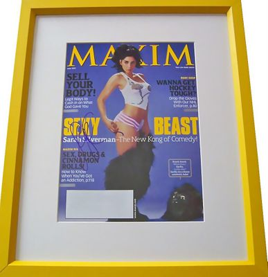 Sarah Silverman autographed Maxim magazine cover matted & framed