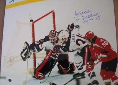 Sarah Tueting autographed 1998 USA Hockey Team 16x20 poster size action photo inscribed Gold 98