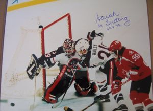 Sarah Tueting autographed 1998 USA Hockey 16x20 poster size action photo inscribed Gold 98