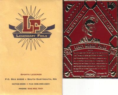 Satchel Paige 1993 Legendary Foils promo card MINT