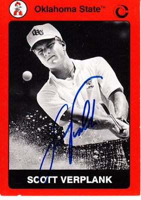 Scott Verplank autographed Oklahoma State 1991 Collegiate Collection golf card