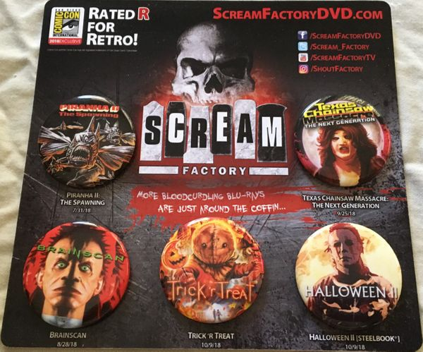 Scream Factory 2018 Comic-Con exclusive set of 5 movie promo buttons or pins (Halloween 2)