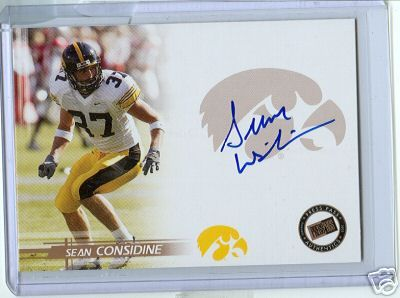 Sean Considine certified autograph Iowa Hawkeyes 2005 Press Pass card