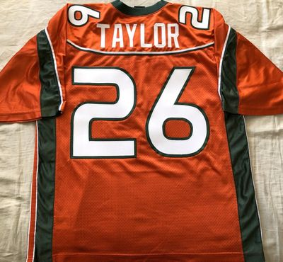 Sean Taylor Miami Hurricanes 2001 to 2003 authentic Nike orange jersey with Big East patch