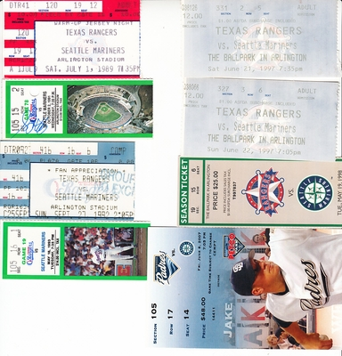 Seattle Mariners lot of 8 vintage road game ticket stubs